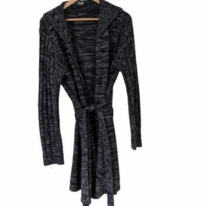 Long Open Front Chunky Knit Cardigan